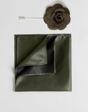 Gianni Feraud Булавка на лацкан с цветком и платок для пиджака. Цвет: зеленый