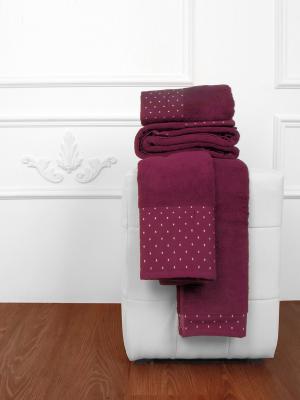 Махровое полотенце Горошки, 50*90 см, в подарочной коробке Тет-а-Тет. Цвет: бордовый