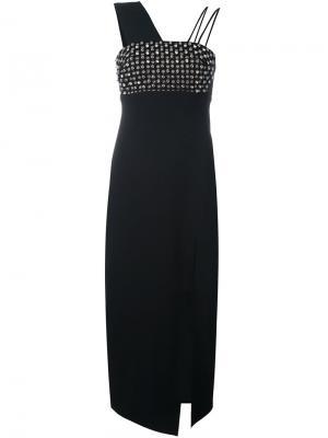 Платье длины миди с отделкой стразами David Koma. Цвет: чёрный