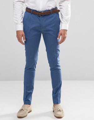 ASOS Бледно-синие супероблегающие строгие брюки. Цвет: синий