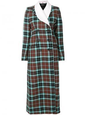 Двубортное пальто в шотландскую клетку Alessandra Rich. Цвет: коричневый