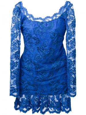 Кружевное платье с открытой спиной Balensi. Цвет: синий