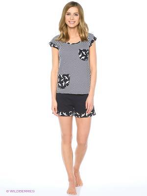 Пижама (футболка, шорты) FORLIFE. Цвет: черный, белый