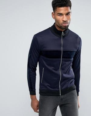 ASOS Трикотажная спортивная куртка с велюровыми вставками. Цвет: темно-синий
