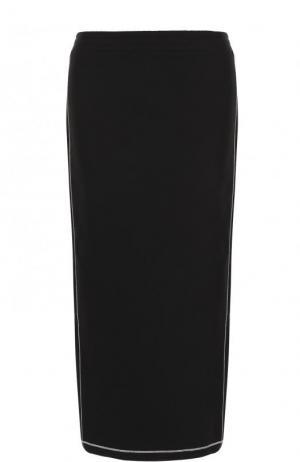 Однотонная хлопковая юбка-миди Kenzo. Цвет: черный