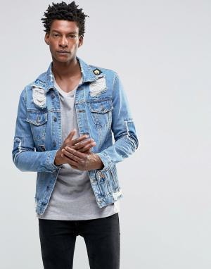 Always Rare Потертая джинсовая куртка. Цвет: синий