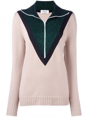 Пуловер на молнии дизайна колор-блок Aviù. Цвет: телесный