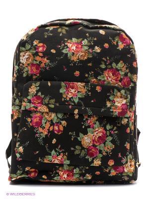 Рюкзак с цветочным принтом Flower Bouquets (черный) Kawaii Factory. Цвет: черный