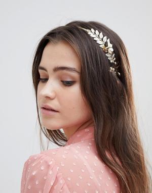 ASOS Повязка на голову с цветочной отделкой DESIGN. Цвет: золотой