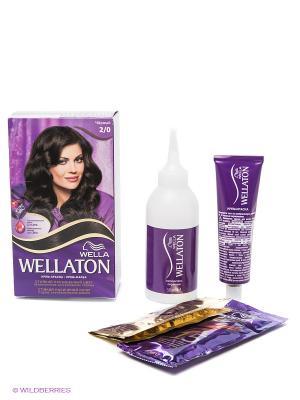 Крем-краска для волос 2/0 Черный WELLATON. Цвет: фиолетовый