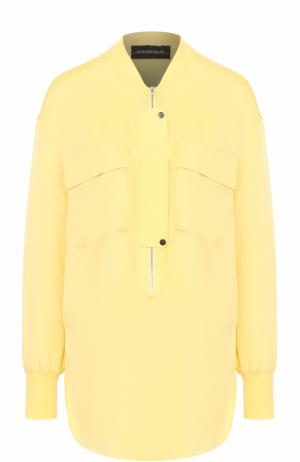 Шелковая блуза свободного кроя с накладными карманами By Malene Birger. Цвет: желтый