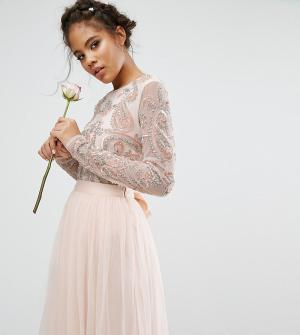 Maya Tall Боди из комплекта с длинными рукавами и пайетками. Цвет: розовый