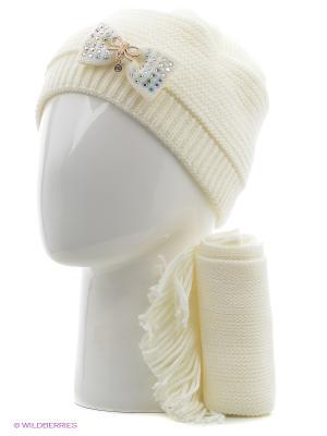 Шапка, шарф Tricotier. Цвет: белый