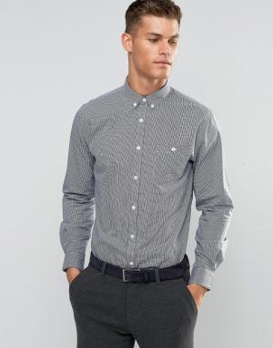 Silver Eight Строгая рубашка узкого кроя в темно-синюю и белую клетку. Цвет: черный