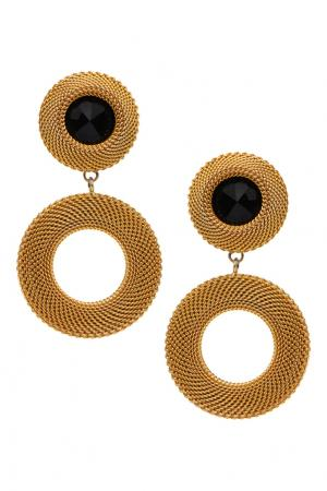 Клипсы (80-е) Carolina Herrera Vintage. Цвет: золотой