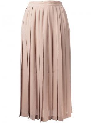 Плиссированная юбка миди Cityshop. Цвет: коричневый