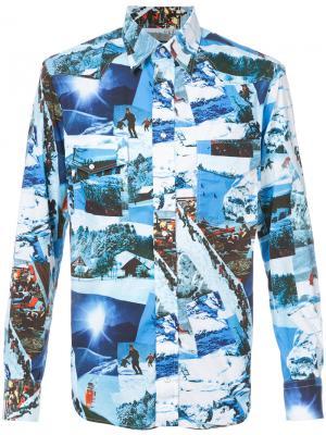 Рубашка с принтом Gitman Vintage. Цвет: синий