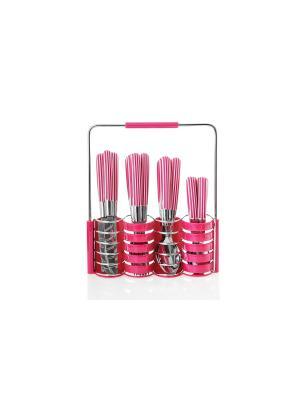 Набор столовых приборов на подставке Floret Plus 24предмета Elff Ceramics. Цвет: розовый