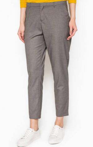 Укороченные серые брюки Maison Scotch. Цвет: серый