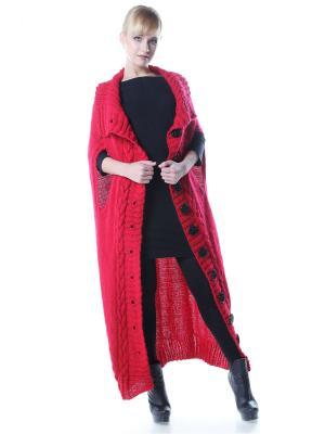 Накидка-кейп-пальто Красное с крупными пуговицами/42-48 SEANNA. Цвет: красный