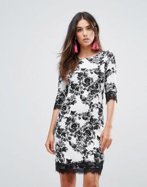 Zibi London Платье-футляр с цветочным принтом и кружевной отделкой. Цвет: черный