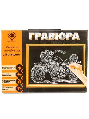 Набор для создания гравюры Мотоцикл 21х30 см Фабрика Фантазий. Цвет: черный