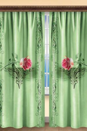 Комплект штор 270х150 2 шт. BegAl. Цвет: салатовый, розовый