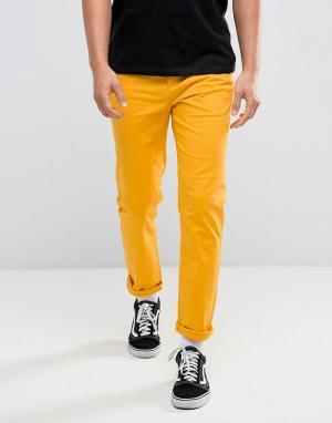 ASOS Желтые чиносы слим. Цвет: желтый