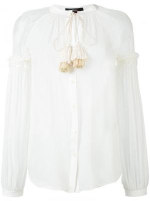 Полупрозрачная блузка Wandering. Цвет: белый