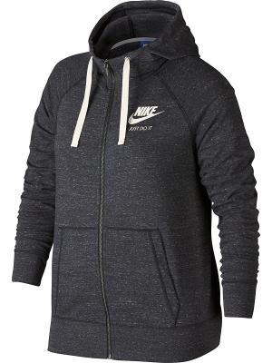 Толстовка W NSW GYM VNTG HOODIE FZ EXT Nike. Цвет: антрацитовый