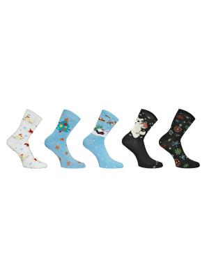 Носки 5 пар Master Socks. Цвет: белый, черный, голубой