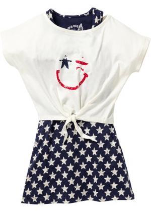 Трикотажное платье + футболка (2 изд.) (темно-синий/цвет белой шерсти с рисунком) bonprix. Цвет: темно-синий/цвет белой шерсти с рисунком