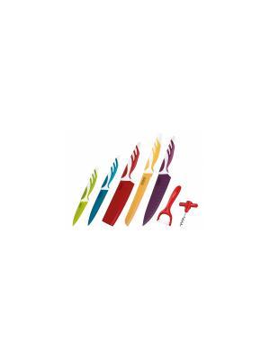 Набор ножей тефлон, овощечистка, топорик, штопор, подарочная упаковка Peterhof. Цвет: синий, красный, желтый
