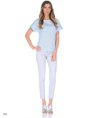 Блузка APRELLE. Цвет: светло-голубой, белый