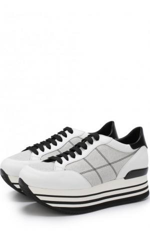 Комбинированные кроссовки на платформе Hogan. Цвет: черно-белый