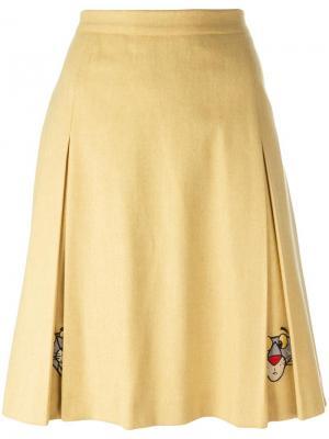 Юбка с вышивкой пантеры Jc De Castelbajac Vintage. Цвет: жёлтый и оранжевый
