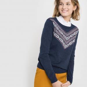 Пуловер жаккардовый с круглым вырезом MADEMOISELLE R. Цвет: синий морской