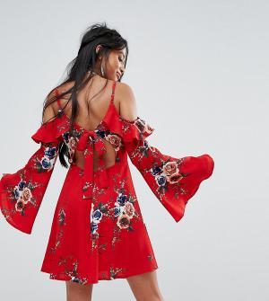 Sisters of the Tribe Платье с длинными рукавами и цветочным принтом Pe. Цвет: красный