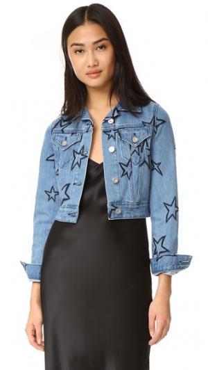 Укороченная куртка из денима Etre Cecile. Цвет: светло-голубой