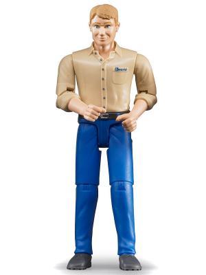 Фигурка мужчины голубые джинсы Bruder. Цвет: бежевый
