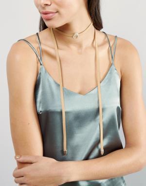 Glamorous Ожерелье-чокер с полумесяцем. Цвет: коричневый