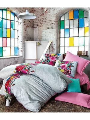 Комплект постельного белья DESTINY сатин, 200ТС, цифровая печать, евро ISSIMO Home. Цвет: розовый
