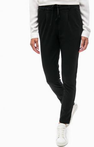 Зауженные черные брюки на кулиске TOM TAILOR. Цвет: черный