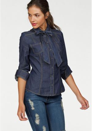 Джинсовая блузка AJC. Цвет: синий потертый