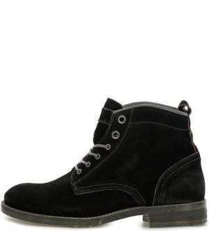 Черные замшевые ботинки на шнуровке NOBRAND. Цвет: черный