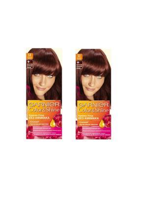 Краска-уход для волос Color&Shine без аммиака, 5.5, Сочная вишня, 2 шт. Garnier. Цвет: бордовый