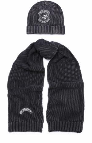 Хлопковый комплект из шапка и шарфа с нашивкой Marc Jacobs. Цвет: черный