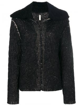 Приталенная фактурная куртка Boboutic. Цвет: чёрный