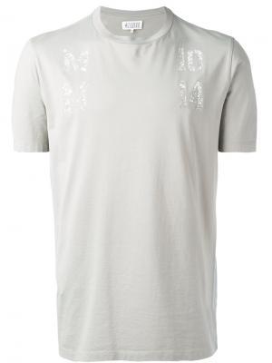 Декор рованная футболка Maison Margiela. Цвет: серый
