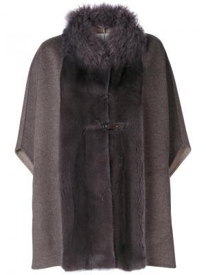 Пальто-кейп со вставками Manzoni 24. Цвет: коричневый